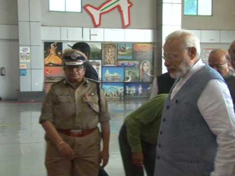 PM Narendra Modi arrives at Ahmedabad airport to visit flood-hit Gujarat