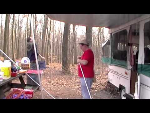 Figuring out how to put an awning up on a popup - YouTube