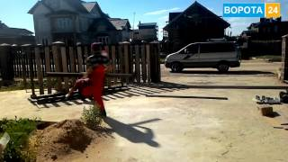 Установка откатных ворот Харьков. ВОРОТА 24 - автоматические гаражные ворота, кованые ворота(, 2016-12-15T08:52:44.000Z)