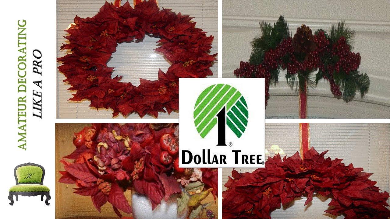 Dollar Tree Diy Red Poinsettia Wreath, Centerpiece & Christmas Swag   Youtube