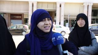 """منقبات يحتجن على قرار """"منع البرقع"""" أمام البرلمان المغربيمنقبات ضد """"منع البرقع"""" أمام البرلمان المغربي"""