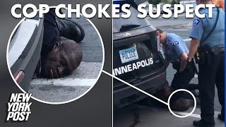 Video shows Minneapolis cop with knee on neck of black man who later died | New York Post