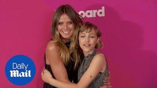 Heidi Klum poses with AGT winner Grace VanderWaal at Billboards - Daily Mail