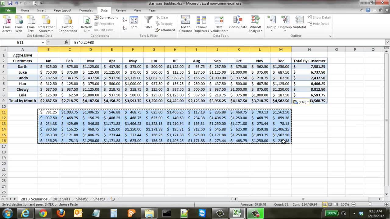 how to create financial scenarios in excel youtube