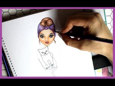 Topmodel Malbuch How To Draw Frisur Mit Kopftuch Frisur Malen