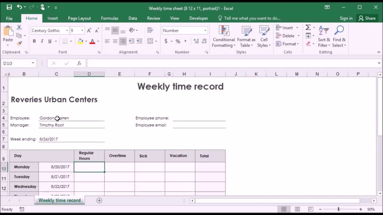 628 Entering Data In Template Timesheet In Excel 2016 Youtube