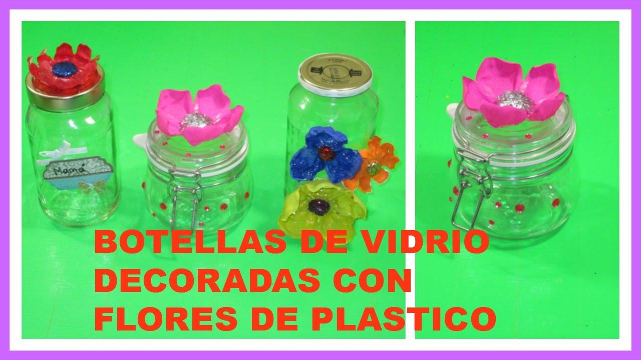 Como decorar botes de vidrio con flores de botella - Manualidades con botes de cristal ...