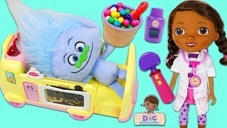 Trolls Guy Diamond Eats too Many Gumballs & Visits Doc McStuffins Toy Hospital!