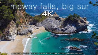 McWay Falls, Big Sur in 4K (Wide View) 1 HOUR Static Nature Scene + Wave Sounds for Relaxation