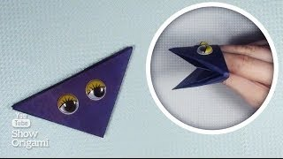 Квакающая оригами #лягушка на руку из бумаги
