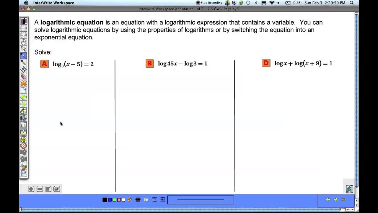 Algebra 2 75 Exponential and Logarithmic Equations and – Solving Exponential and Logarithmic Equations Worksheet