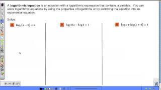 Algebra 2 - 7.5 Exponential and Logarithmic Equations and Inequalities