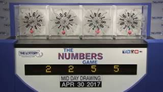 Midday Numbers Game Drawing: Sunday, April 30, 2017