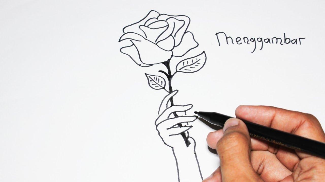 Cara Menggambar BUNGA MAWAR dengan mudah sekali - YouTube
