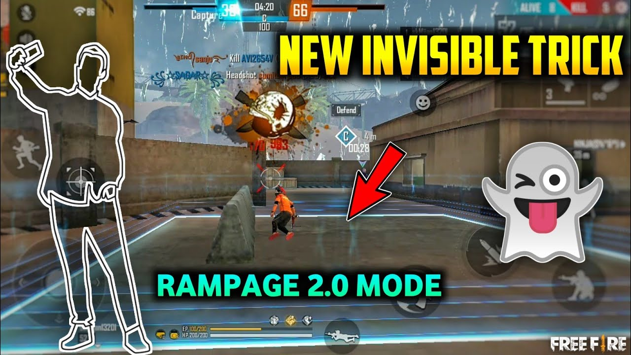 FREE FIRE NEW INVISIBLE TRICK IN RAMPAGE 2.0 MODE || NEW INVISIBLE BUG - GARENA FREE FIRE