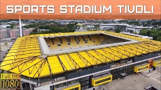 SPORTS STADIUM (TIVOLI) IN AACHEN (GERMANY) FROM ABOVE, DRONE FLIGHT VIDEO
