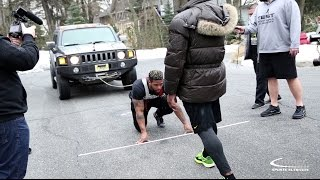 Truck Pull Challenge Bodybuilders vs Football Players