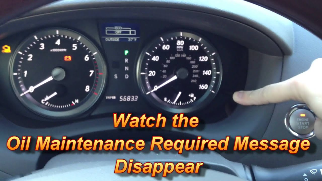How to Reset Oil Maintenance Required Light Lexus ES350 - YouTube