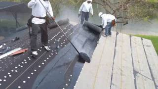 New Roofing - Roof 90lb hotmop Installation and Roof tile loading