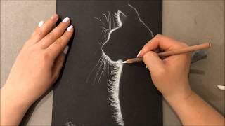 Как нарисовать эффектную кошку за несколько минут. How to draw beautiful cat. Soft Pastel art.