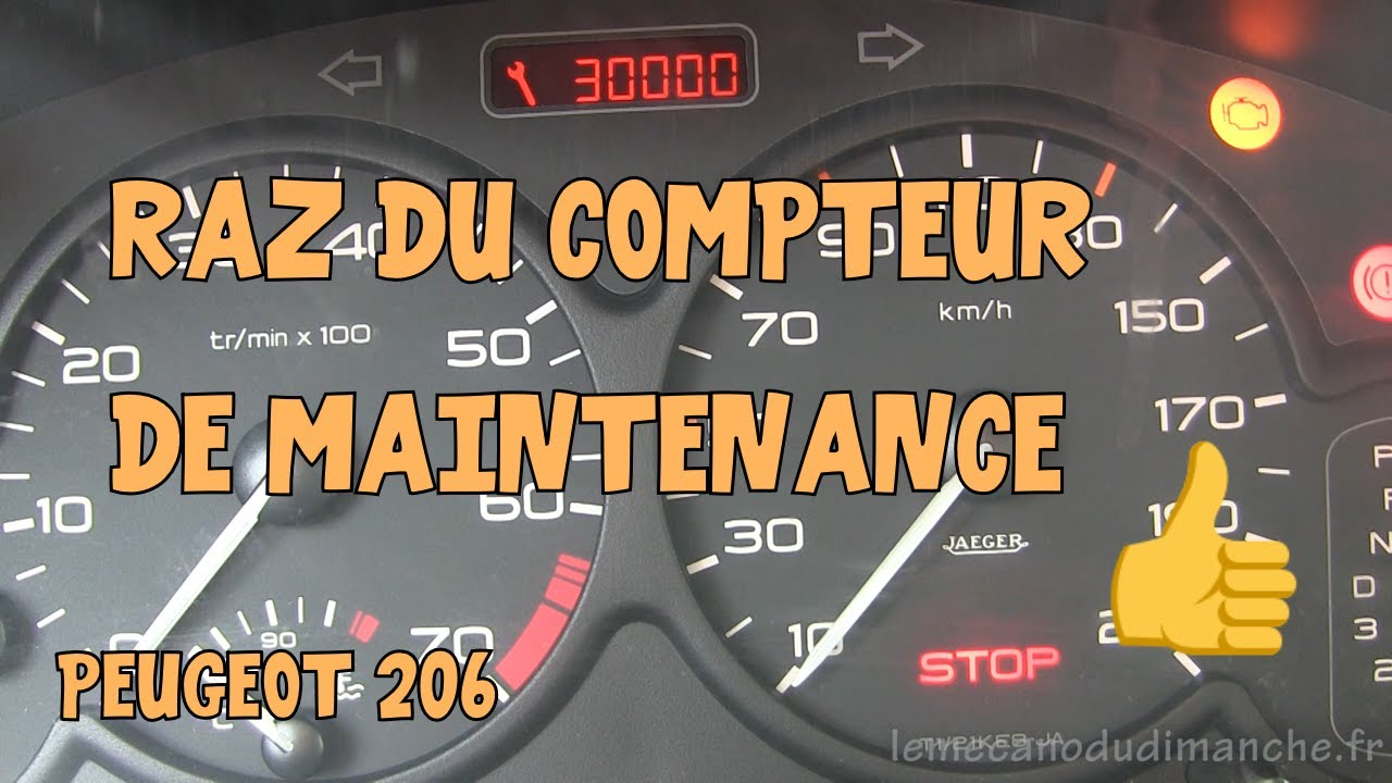tutoriel 206 06 remise z ro du compteur de maintenance. Black Bedroom Furniture Sets. Home Design Ideas