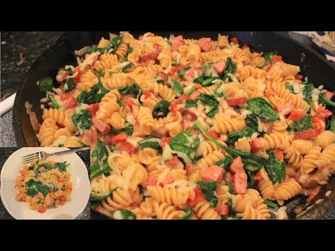 One Pan Creamy Sausage and Spinach Pasta:  Easy Skillet Meal