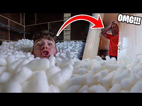 Filling Mom&39;s ENTIRE Room with PACKING PEANUTS *PRANK*