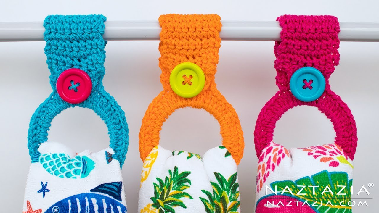 How to Crochet a Hanging Ring Towel Holder - Easy Toppers for ...