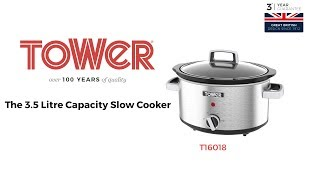 Tower Stainless Steel, 3.5 Litre Capacity Slow Cooker