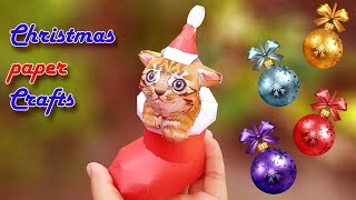 Christmas paper Craft Cat Decorating santaclaus gift ideas | Amazing DIY crafts for Christmas