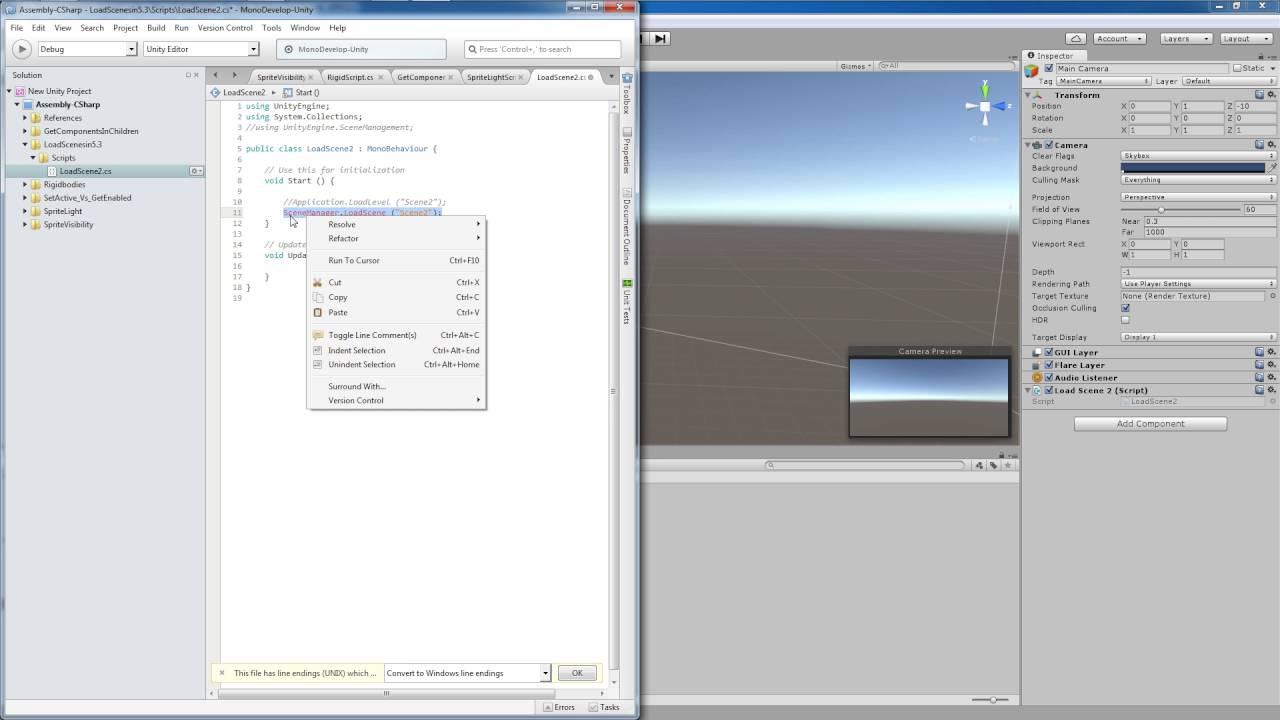 Unity Tutorial: Using SceneManager LoadScene to load Scenes in Unity 5 3