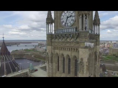 Drone Flight Over Parliament Buildings In Ottawa Canada