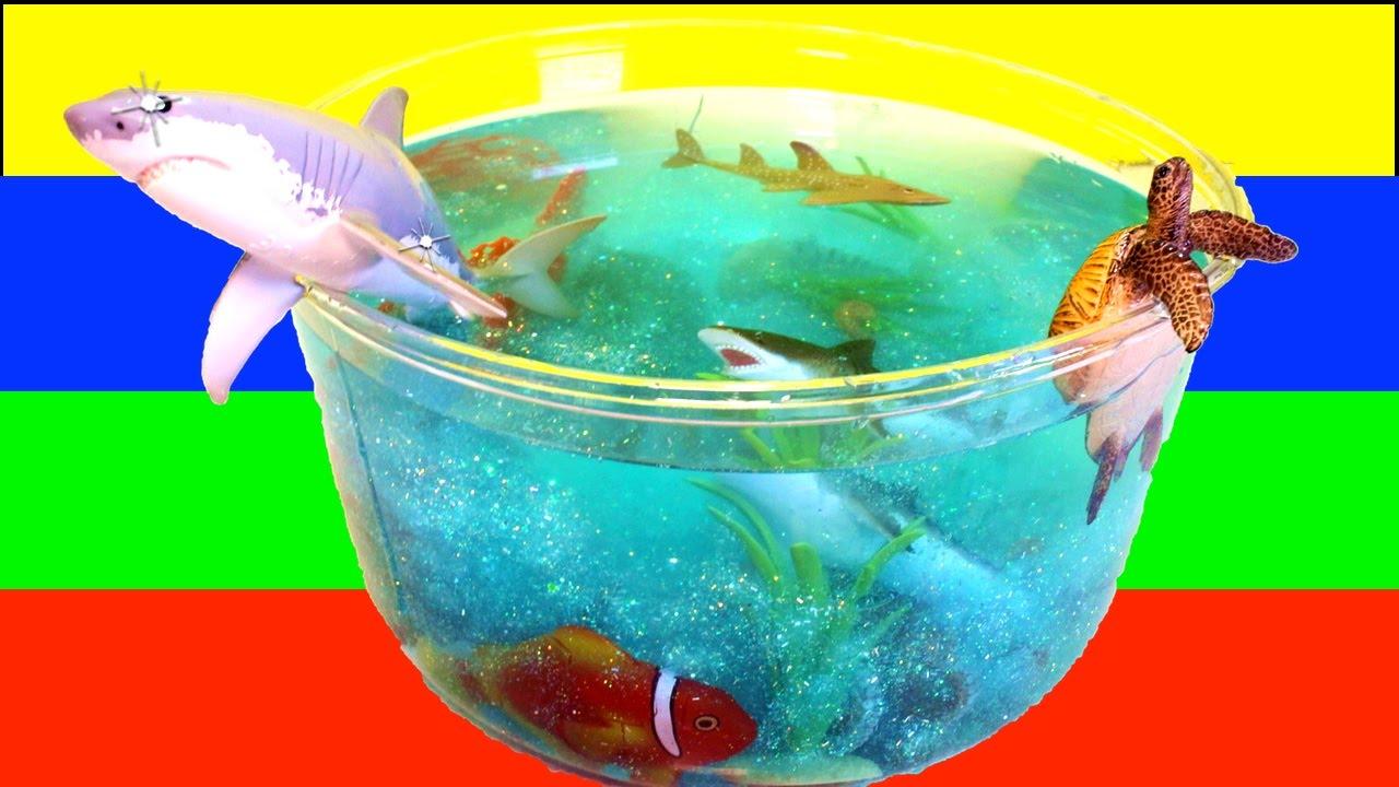 Fish tank toys - Diy Shark Toys Slime Aquarium Fish Tank Toy Sharks Sea Animals Toys And Slime Craft Videos