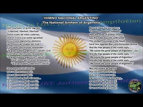 Argentina National Anthem with music, vocal and lyrics Spanish w/English Translation