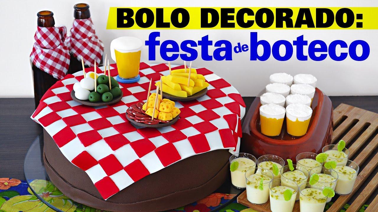 Bolo Decorado Festa de Boteco YouTube -> Decoração Para Festa Roda De Boteco
