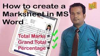 Create Marksheet In MS Word using Mail Merge | Easy step | Part-1