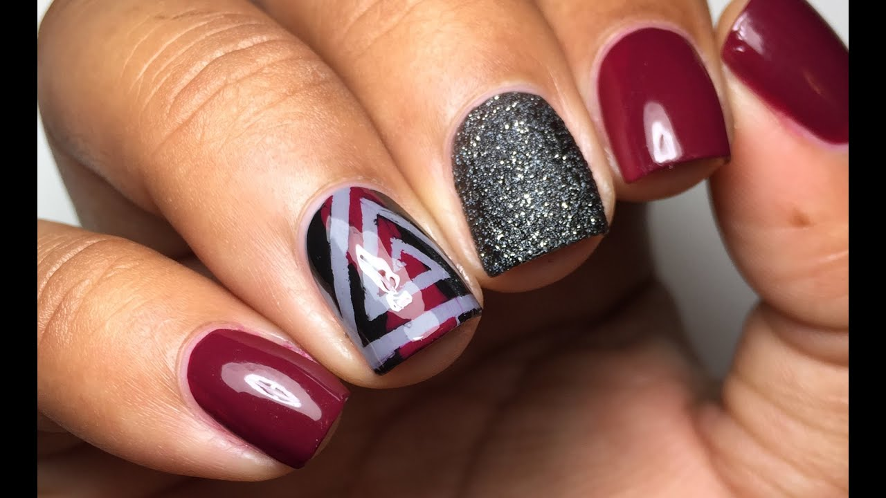 Berry and black triangle cyclone nail art tutorial youtube berry and black triangle cyclone nail art tutorial prinsesfo Images