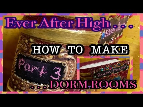 How To Make Ever After High Dorm Rooms / Step 3 Interior Room Construction w/ Doors Window Valance