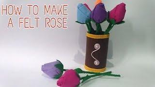 DIY   Tutorial Bunga Mawar Kuncup Dari Kain Flanel   How To Make A felt  Rose