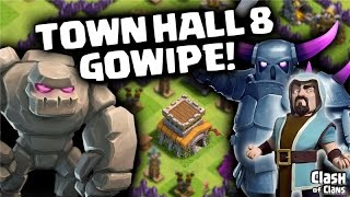 "Clash of Clans ""Town Hall 8 Gowipe"" Three Star Clash Clan War Wins!"