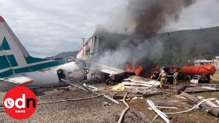 Russian plane bursts into flames after emergency landing