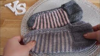 Простые тапочки(следки) спицами.  Подробный МК. Simple slippers.