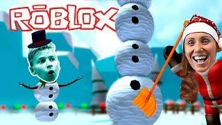 Самый ДЛИННЫЙ СНЕГОВИК для Алисы на День Рождение! Симулятор Снеговика в Роблокс Катя и Ростя играют