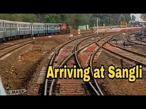Arriving At Sangli | Kolhapur - Pune Passenger | WDM3A | Chalukya Express | WDP4D