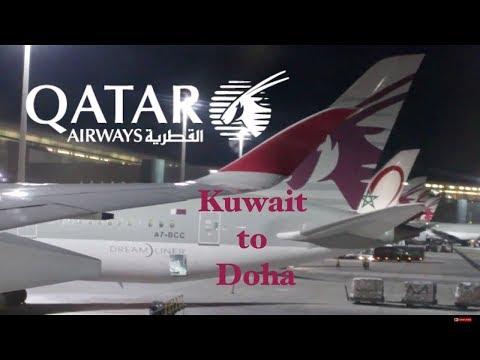 Qatar Airways A350-900 economy class gorgeous landing in  Doha. KWI-DOH