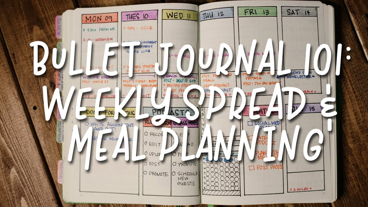 Bullet Journal 101 Weekly Spreads Meal Planning Youtube