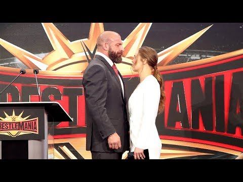 Ronda Rousey & Triple H share an intense moment during WrestleMania 35 press conference