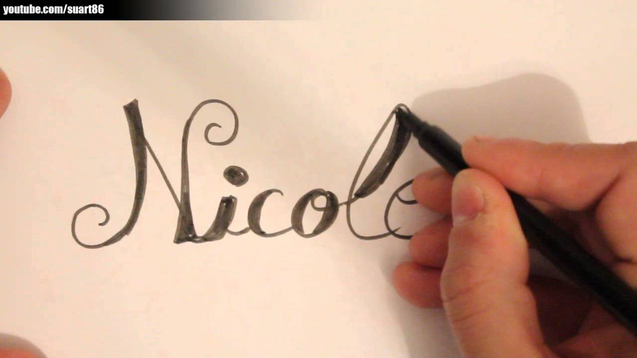 How To Draw The Name Nicole Youtube