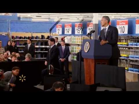 President Obama Visits a Walmart Store to Address Renewable Energy