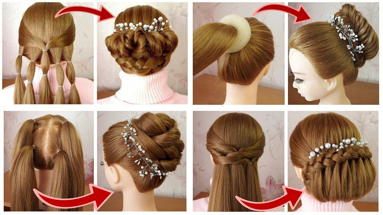 4 AMAZING Hairstyles for Wedding Party | New Hairstyles with trick | Tuto coiffures soirée/mariage
